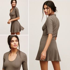 Free People Jolene Brown Rib Knit Mini Dress NWT